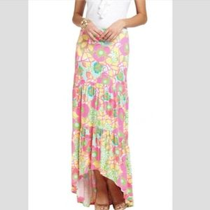 Lilly Pulitzer Canyon Tiered Hi Lo Maxi Skirt